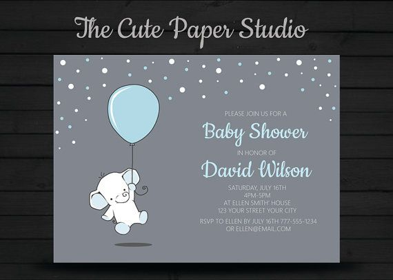 Blue elephant Baby Shower InvitationBalloon by TheCutePaperStudio Baby Shower Invitations For Boys