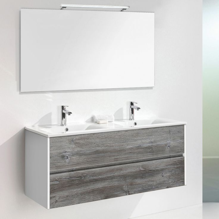 £670.07 Belfry Bathroom Daugava 120cm Wall Mounted Double Basin Vanity Unit With Mirror, light and Storage Cabinet