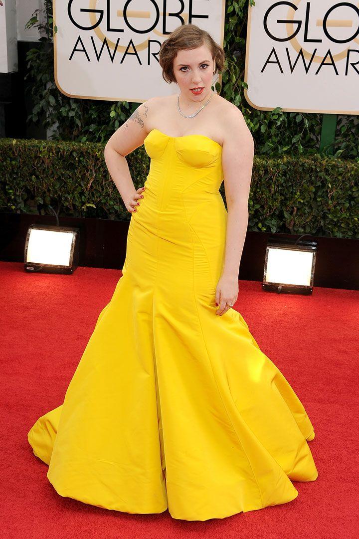 Lena Dunham's Yellow Golden Globes Gown: Yea Or Nay