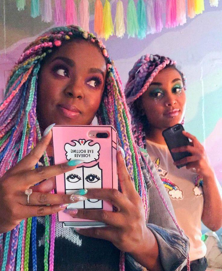 "817 Likes, 10 Comments - #UnicornCurls (@unicorn.curls) on Instagram: ""Unicorn braids 🦄✨🌈💖. @diondralorraine @studiomucci #unicorncurls #unicornbraids #boxbraids…"""