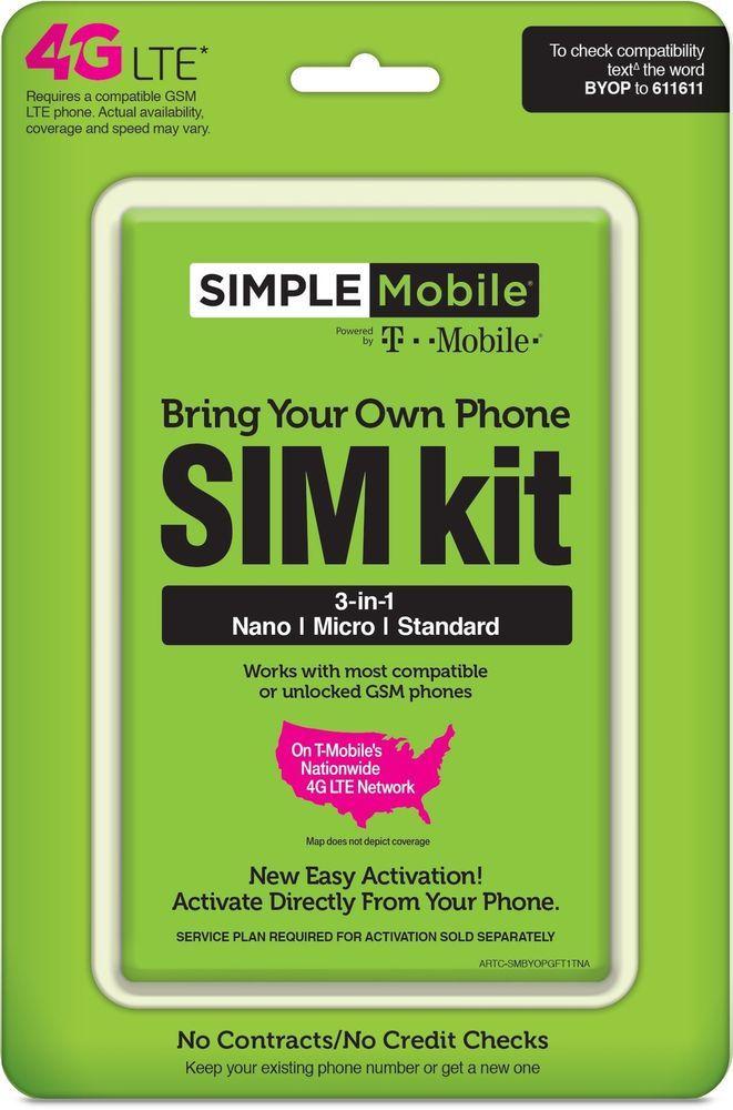 Simple Mobile s 3-in-1 SIM Nano Micro Standard Triple Sim Card Dual 4g LTE #SimpleMobile