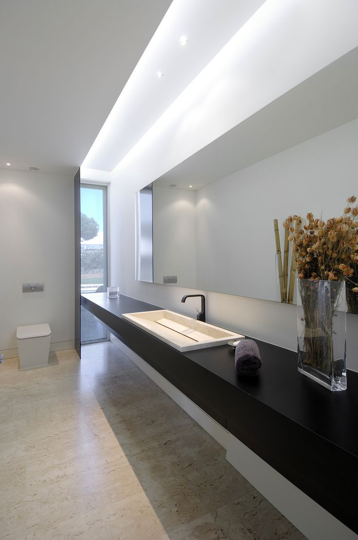 *bathroom design, modern interiors, sinks and vanities, black and white look* - residence by A-cero