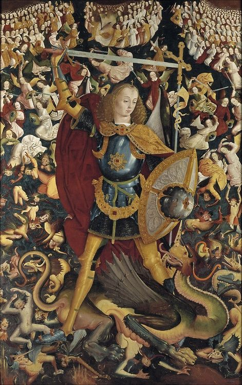 Master of Zafra Saint Michael  1490 - note what by today's norm would be considered gender fluid - Prado - go to Prado website  - part of Spain Camino May 2015