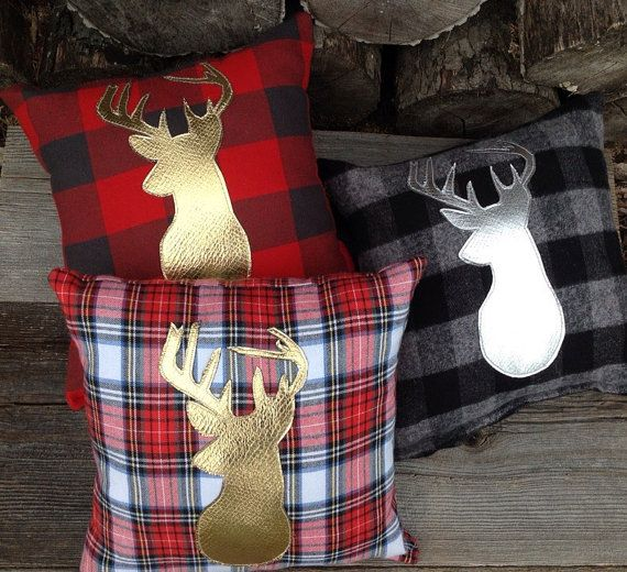 Deer Pillow, Decorative Pillow, Gifts Under 50, Nursery Decor, Gold Pillow, Throw Pillow, Woodland Pillow, Rustic Lodge, Holiday Pillow