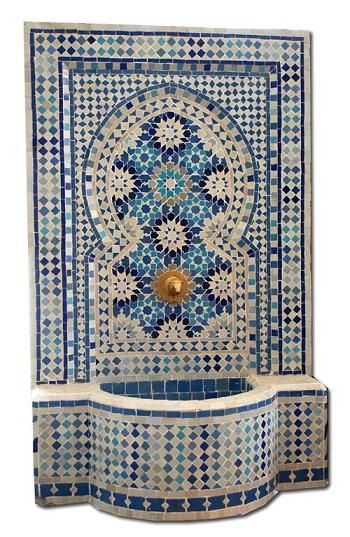 Granada fountain: Moroccan Mosaic Tile Fountain with Andalusian Moorish Tile Work. Patterns handcut by artisans.