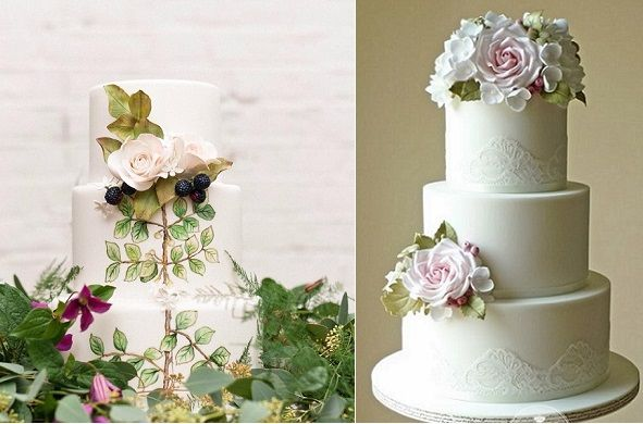 blackberry wedding cake by Cakes by Krishanthi left, The Designer Cake Co right