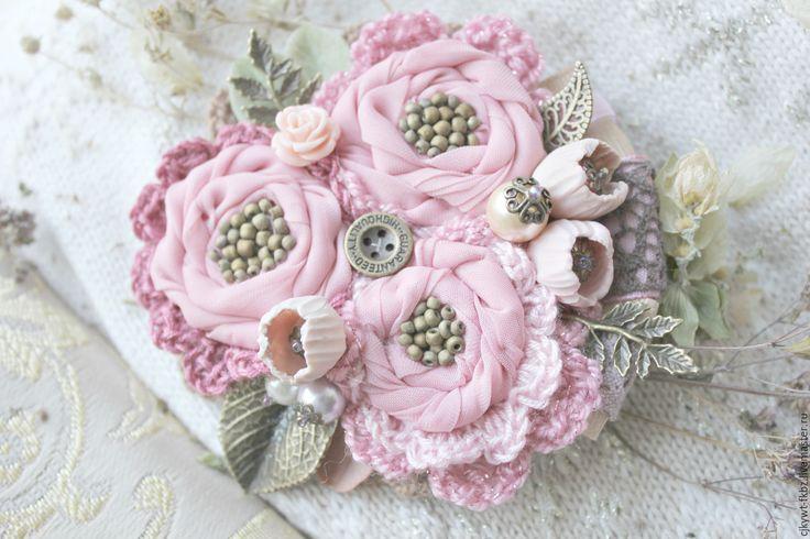 Купить Шебби розы. Брошь букет - бледно-розовый, розы, розовый, шебби-шик