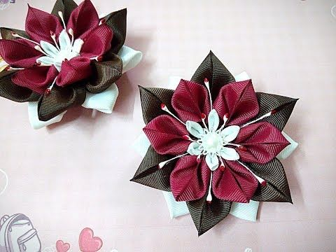 Необычные резинки заколки канзаши из лент/  hair clips ribbon kanzashi DIY - YouTube