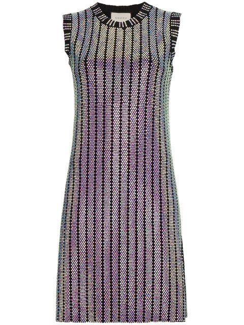 56e64b603f3 Gucci Crystal Embroidered Ribbed Knit Dress - Farfetch