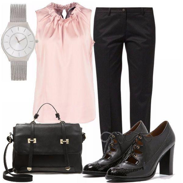 Look adatto all'ufficio o nei luoghi dove esigono un'abbigliamento formale composto da camicetta rosa con collo arricciato abbinata a dei pantaloni dritti neri, décolleté stringate con tacco squadrato, borsa a mano capiente, orologio per essere puntali.