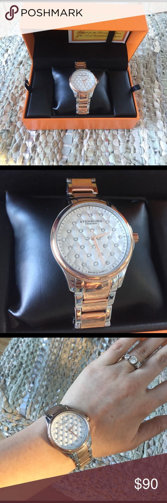 Stuhrling NEW IN BOX authentic watch. Stuhrling NEW IN BOX authentic watch. Never worn or taken out of box except for photo. Has cushioned rhinestones sterling silver. Online says yellow gold but look more rosy to me. Retails for $485. Swiss watch brand got as a Christmas gift! Stuhrling Original Accessories Watches