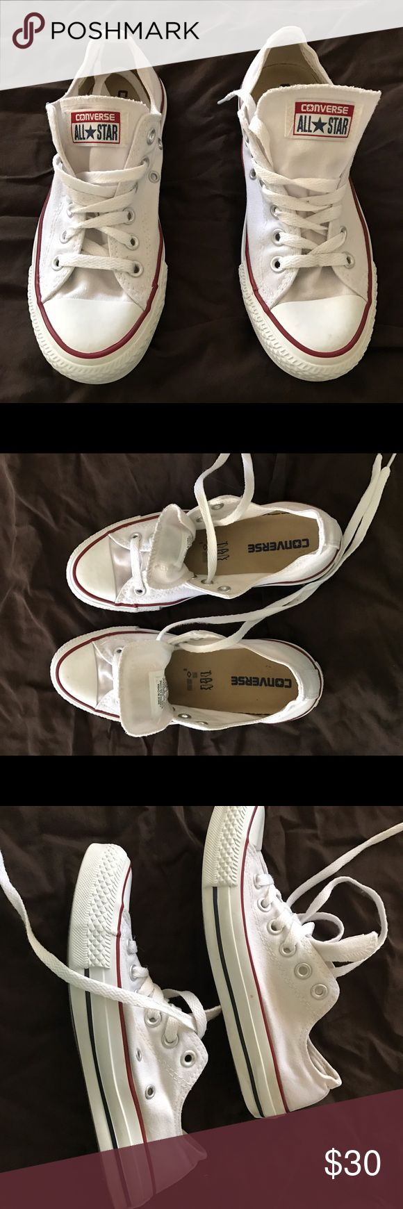 White Low Top Converses White, low top, converses. Worn multiple times and loved them; however, my feet grew after pregnancy and I can no longer wear them. Converse Shoes Sneakers