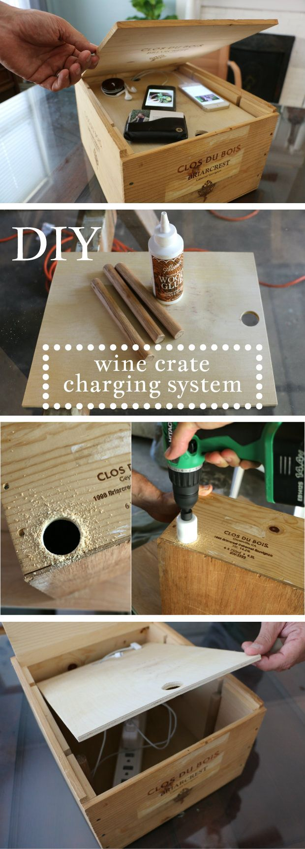 Genius! This is how you get rid of ugly wires and cords all over the living room. A wine crate turned into a hidden charging station! Love this project.  www.ehow.com/...