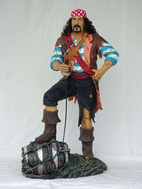 6 Ft Pirate w/ Barrel Fiberglass Statue