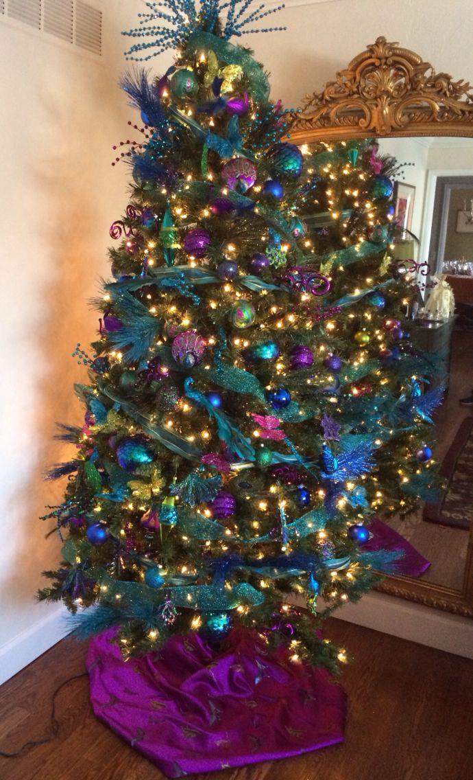 Peacock themed Christmas tree.