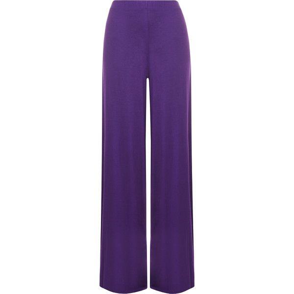 Cherry Wide Leg Palazzo Trousers ($18) ❤ liked on Polyvore featuring pants, purple, purple pants, womens plus size pants, plus size pants, wide-leg pants and palazzo pants