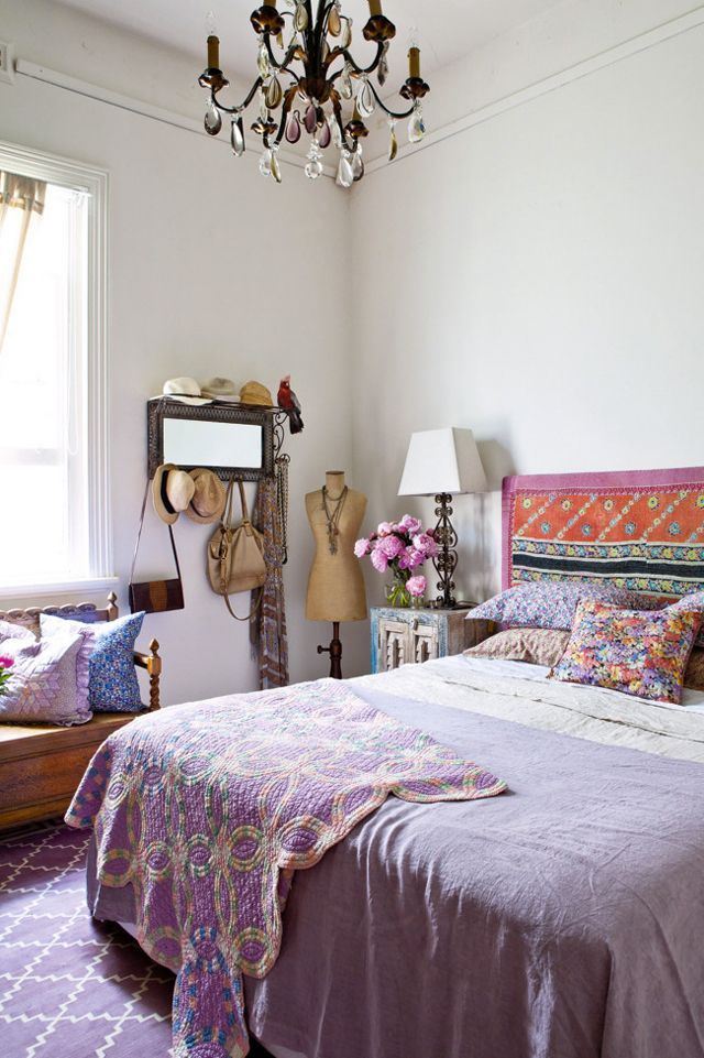 Beautiful Eclectic Bedroom Decor - Love The Mixed Prints And Fabrics!