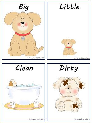 A really cute way to work on opposites...using contrastive utterances.  Big puppy, small puppy, clean puppy, dirty puppy.