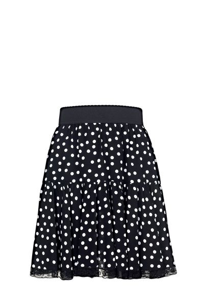 Dolce & Gabbana pleated skirt with polka dot print, elasticated waistband, lace trim and concealed zip closure on the back  The model is 1,75m tall and is wearing size 38