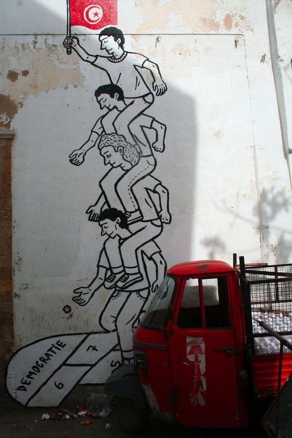 "Street art | Mural ""The Tunisian Revolution"" (Tunisia) by Zoo Project [aka Bilal Berreni]"