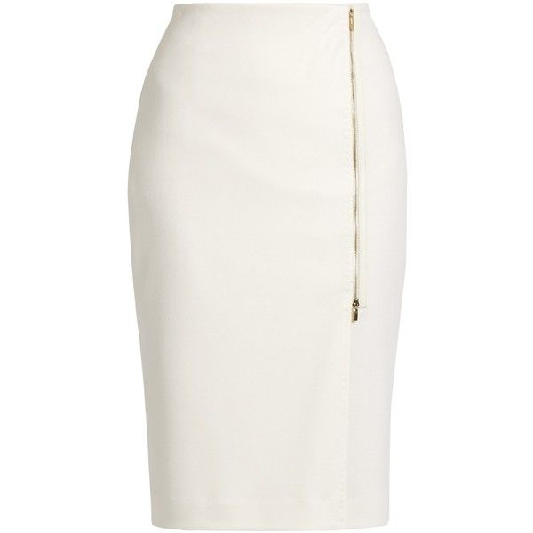 Max Mara Visita skirt ($635) ❤ liked on Polyvore featuring skirts, bottoms, pencil skirt, faldas, ivory, leather pencil skirt, maxmara, zipper skirt, real leather skirt and leather skirt