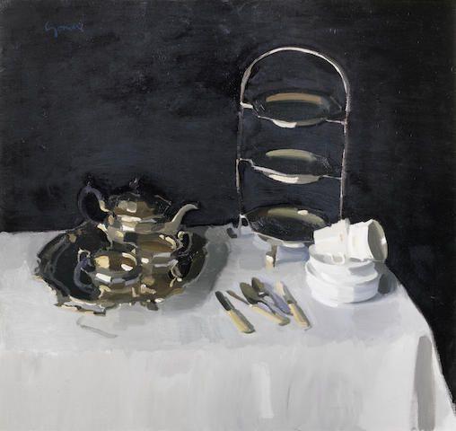 Alexander Goudie (British, 1933-2004) Afternoon Tea 86.3 x 91.4 cm. (34 x 36 in.) Painted circa 1976-77