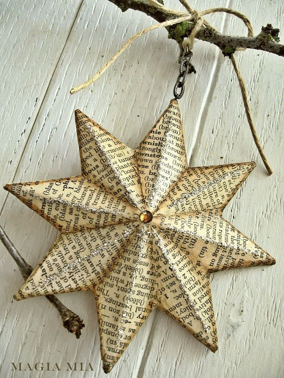 Paper Mache star made with old dictionary paper