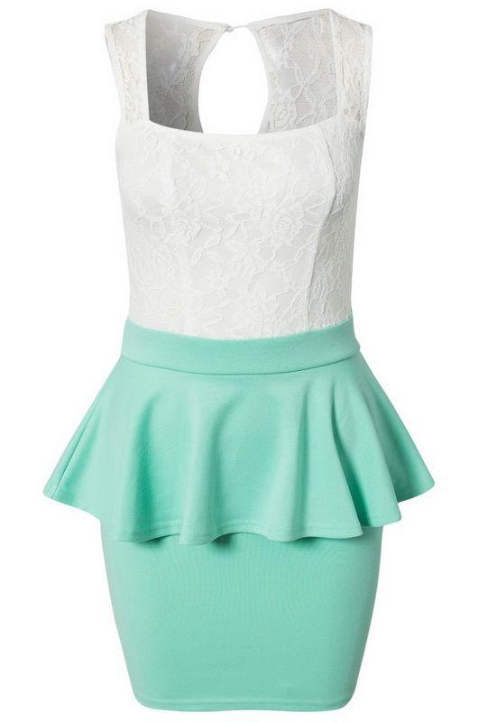White and mint lace peplum dress! #lushwear #peplum #dress #fashion #fashion2015 #mint