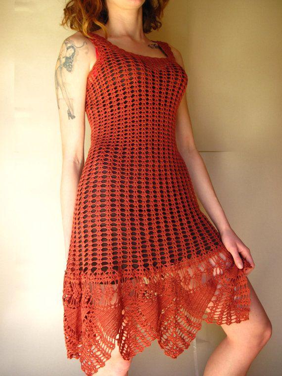 00b06b9088b Crochet Dress Tunic Beach Dress Handmade Rasty-Brown by Strojownia ...