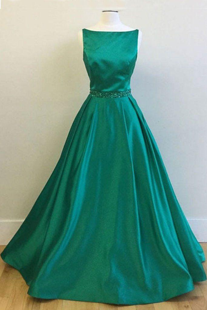Green satin prom dress O-neck long prom dress, evening dress