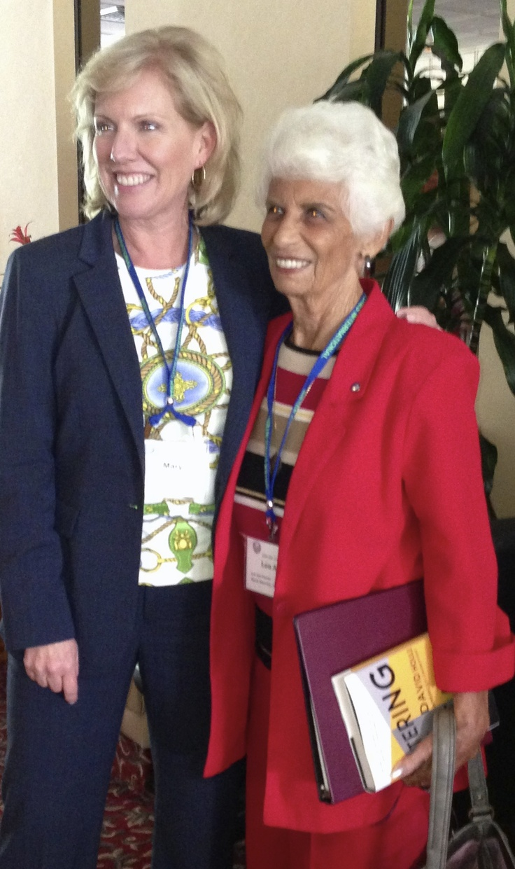 Sister Cities International President & CEO Mary Kane with Sarasota Mayor Emeritus Lou Ann Palmer following Mayor Palmer's remarks at the Friday luncheon program.  Mayor Palmer was deeply involved in the establishment of five of Sarasota Sister Cities and recognized for her personal and passionate involvement during the commemoration of Sarasota Sister Cities 50th Anniversary during the conference.