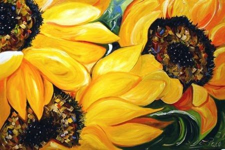girasoles: Sunflowers Trio, Color Paintings, Sunflowers Art, Artists Things, Flower Paintings, Artists Lauri, Artists Inspiration, Contemporary Artwork, Floral Art
