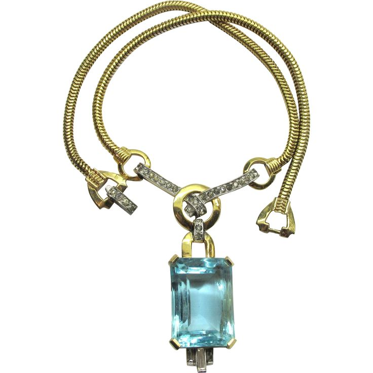 Deco Aqua Mazer Rhinestone Necklace Book Piece Exclusively at Lee Caplan Vintage Collection on RubyLane