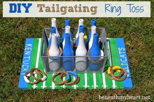 Hands down, this DIY Tailgating Ring Toss game that I made for the boys last summer has been their favorite DIY project for them!  #BoyMomMadness