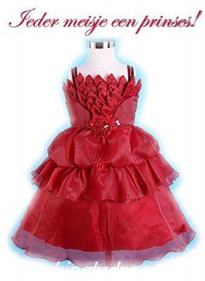 Wijn rode prinsessen jurk maat 116