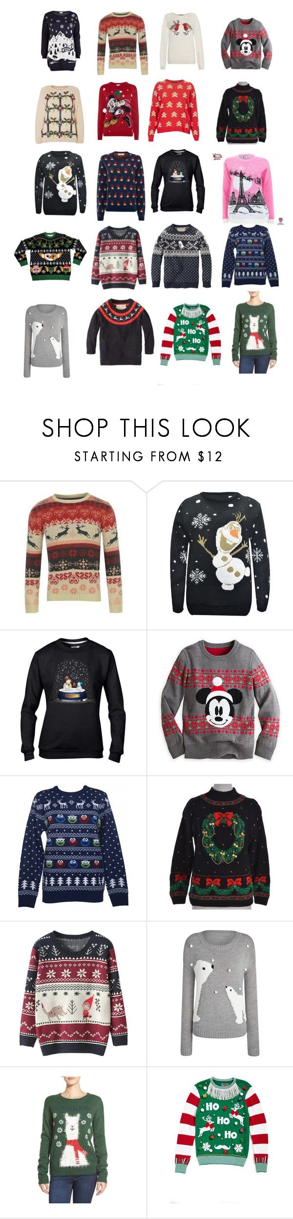 """""""Tis the season for a tacky sweater"""" by waspforlife ❤ liked on Polyvore featuring River Island, Disney, Sesame Street, Jack Wills, BP. and Ugly Christmas Sweater"""