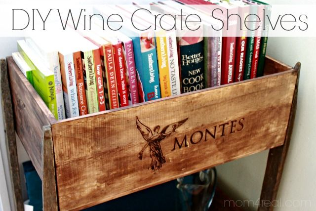 DIY Wine Crate Shelves | Mom 4 Real featured on Remodelaholic.com #winecrate #shelving #diy