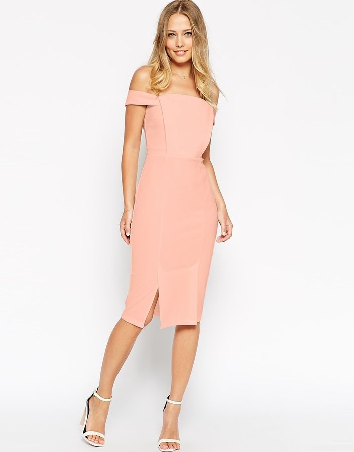 Lovely ASOS COLLECTION ASOS Pencil Dress in Texture with Off Shoulder Tab Detail
