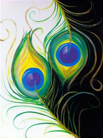 BYOB Painting Class: Peacock Feathers on 3/27/2105 7:00:00 PM - at Paint Until You Faint