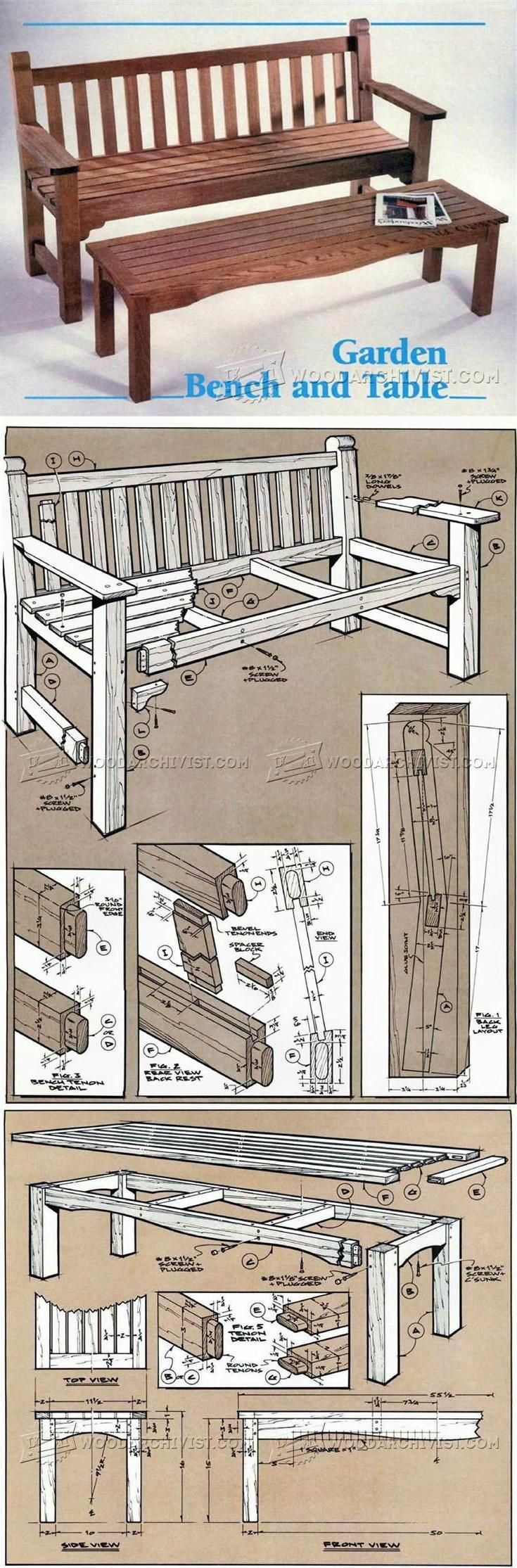Garden Bench and Table Plans - Outdoor Furniture Plans and Projects | WoodArchivist.com