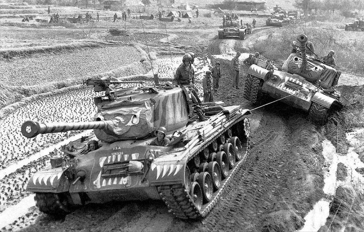 M46 Patton Tanks in their Tiger paint scheme during the Korean War