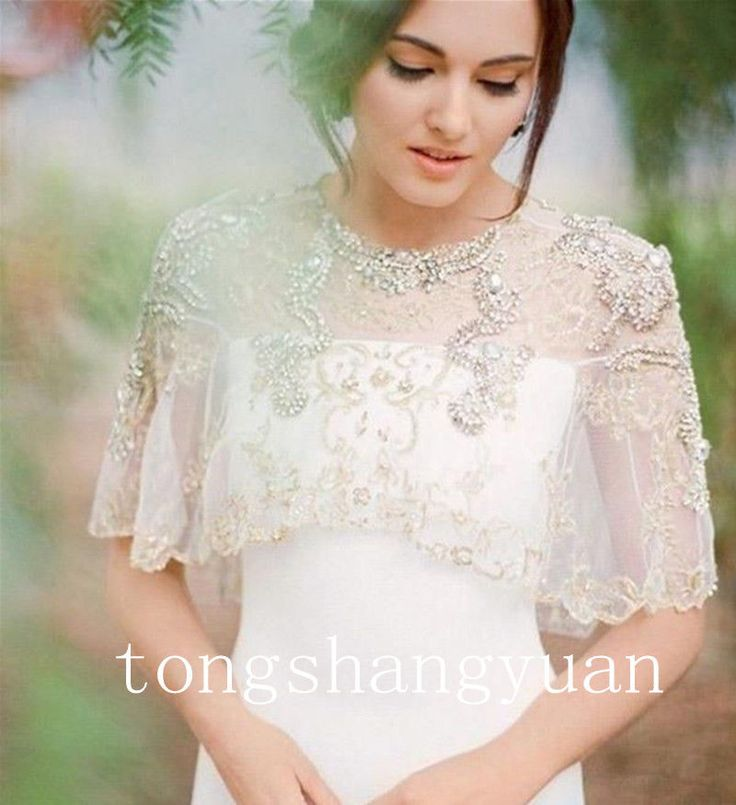 Rhinestone Sheer Cap Sleeve Bridal Wrap White Ivory Bolero Wedding Jacket Custom #WeddingJacket