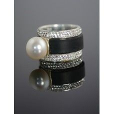 Neo Pearl Ring Set - Freshwater Pearl, Swarovski Crystals, Neoprene and Sterling Silver