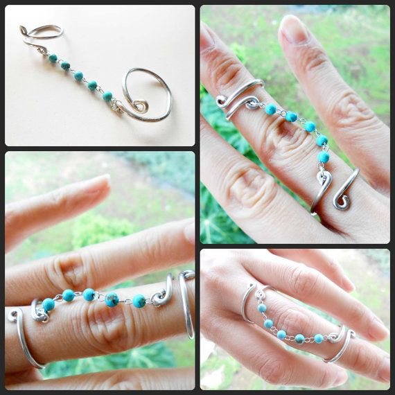 Chain Linked, Double Chain Ring Silver, Turquoise Beads Stone, Adjustable Ring, Jewelry Thailand Handmade.  JR1029-TU