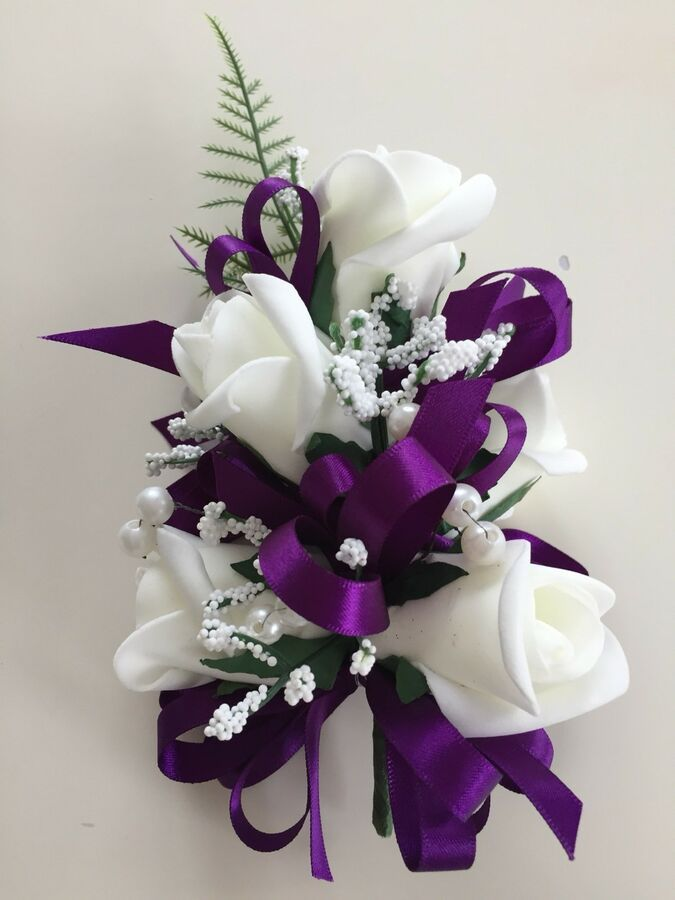 Purple And Ivory Pearl Corsage Mother Of The Bride Guest Wedding
