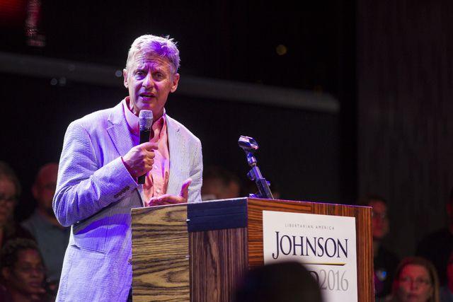 Libertarian presidential candidate Gary Johnson held a high-energy rally…