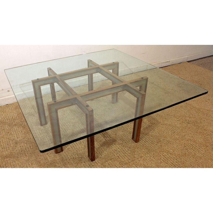 Mid Century Danish Modern Paul Evans Cityscape Style Glass Top Coffee Table