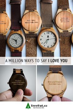 We all have different ways of showing our love. Tree Hut watches let you engrave your own special message on the back of every watch.  Choose from canvas, stainless steel and wood watch straps to create a handmade and completely versatile watch they'll love almost as much as they love you.