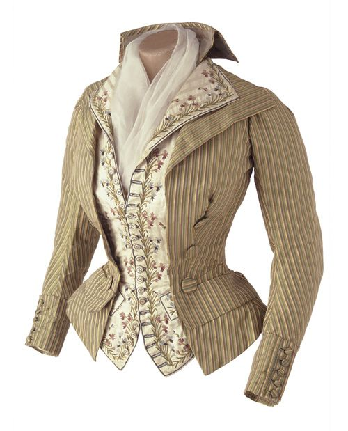 Women's jacket and vest, ca 1790, Musée des Tissus de Lyon ~ I think this is absolutely fantastic!