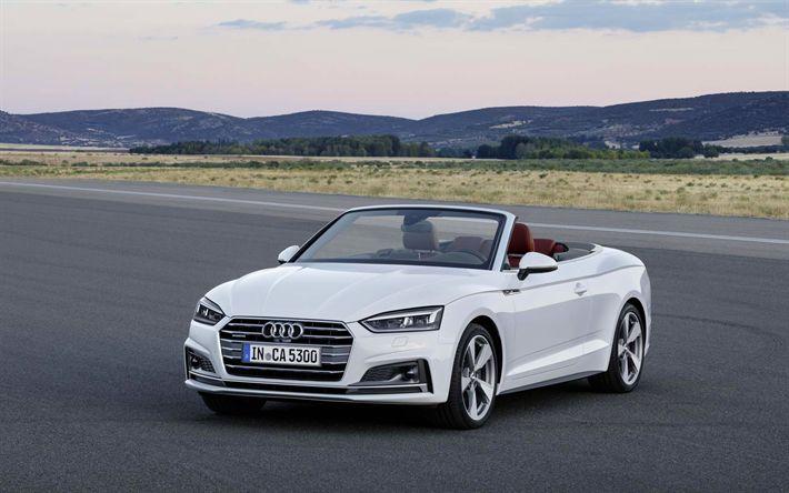 Descargar fondos de pantalla Audi A5 Cabriolet, 2018 coches, carretera, blanco a5, los coches alemanes, el Audi